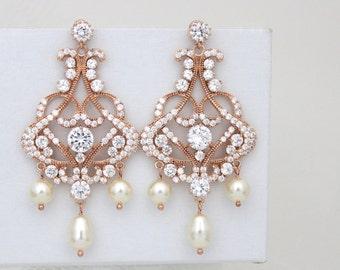 Rose gold earrings, Bridal earrings, Wedding earrings, Bridal jewelry,  Rose gold chandelier earrings, Rhinestone earrings, VICTORIA