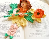 crochet bookmark, springtime daffodil flower fairy ornament, reading character bookmark