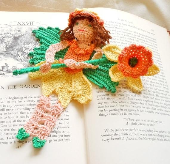 crochet flower fairy bookmark, spring daffodil fairy decoration, fairy ornament, unique bookmarks