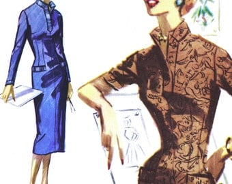 """Sleek and Sexy Sheath Wiggle Dress! Vintage ©1955 McCall's Sewing Pattern 3463, Misses' Dress """"Easy to Sew,"""" Size 12, Uncut w/ Factory Folds"""