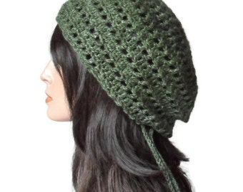 Eco Friendly Hemp Wool Tam Gypsy Green Rasta Dread Woodland Fantasy Hat Cloche Free Size Ready to Ship