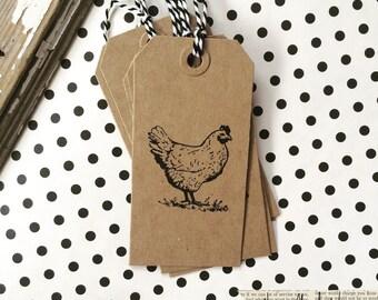 10 chicken kraft chipboard gift tags