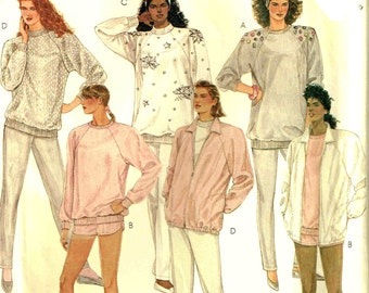 Oversized Sweat Shirt Sweatpants Vintage 1980s Simplicity 6906 Workout Exercise Sewing Pattern Misses Plus Size X Large 22 24 Bust 44 46