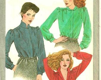 High Neckline  Blouse Convertible CollarSimplicity 9773 Sewing Pattern Steampunk Shirt Size 10 Bust 32.5 Inch Uncut