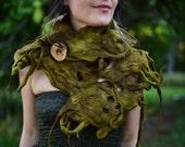Felt Cowl-Woolen Shawl-Pixie Wear-Neck Warmer-Woodland Costume-Tree Roots-Fairy Scarf-Festival Wear-Tree Costume-Moss Green Felt- OOAK