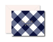 Personalized Folded Notecards  - Buffalo Check Design - set of 10
