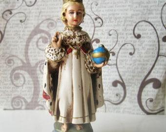 Antique religious statue, infant of praque, antique chalkware statue, vintage religious statue, antique jesus statue