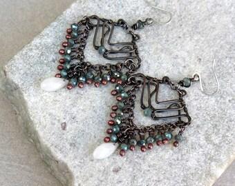 Grey Copper Chandelier Earrings, Wire Wrapped, Boho, Canada, Handmade, Oxidized Copper, STERLING SILVER EARWIRES