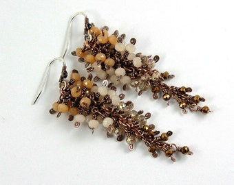 Rosy Autumn Hues Long Cluster Earrings, Antique Copper, Wire Wrapped, Copper Earrings, STERLING SILVER EARWIRES