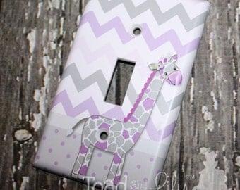 Sweet Lilac Giraffe Chevron Single Light Switch Cover Girls Bedroom Single Light Switch Cover LS0076