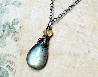 "Labradorite Necklace, Citrine, Oxidized Sterling Silver - ""Sunset"" by CircesHouse on Etsy"