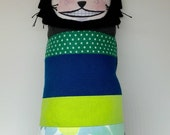 Patchwork Stuffed Cat with Vintage Fabric 3