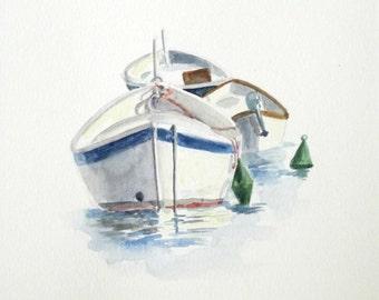 boats watercolor painting wall art impressionist marine sea