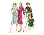 Kwik Sew Pattern 1000, Loose fitting Dress or Pullover Top, Knits Only, Sweatshirt, T Shirt Vintage Sewing Pattern XS S M L