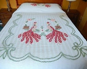 "vintage peacock chenille bedspread, 108"" x 90"", vintage bedding, double peacock, white chenille, home and living"