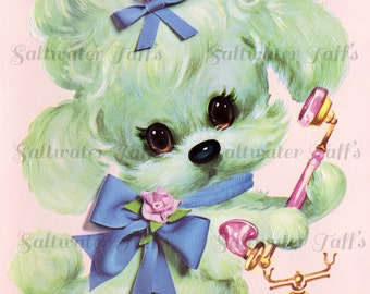 Vintage Big Eyed Poodle Telephone Image Digital Download princess dog diy birthday invite card 1970s flowers retro large transfer big eyes
