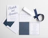 Wedding Invitation, Black Watch Tartan Wedding Collection, Scottish or Irish, Wedding Annoucement