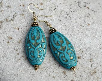 Large Dark Turquoise Drop Earrings - Bohemian, Antique Brass, Gold, Lightweight