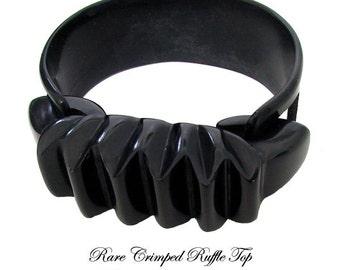 Black Bakelite Bracelet Rare Ruffle Bow Top Bakelite Bracelet, Art Deco Bakelite Bangle Bracelet