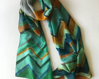 Chevron silk scarf/ Hand painted silk scarf/ Emerald green and ocher scarf/ Geometric shawl/ Lightweight scarf/ Women scarf/ Gift for mom
