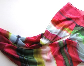 Raspberry Wine Silk Scarf/ Hand painted striped scarf/ Green and red abstract silk scarf/ Birthday gift for women OOAK/ Luxury scarves