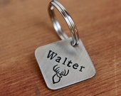 Small dog ID tag - Personalized hand-stamped square