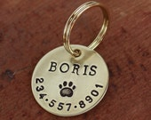 Dog ID tag for dog or cat - Personalized pet tag for collar - brass or nickel silver