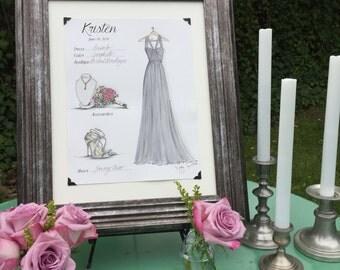 Custom Bridesmaid Gift Illustration FASHION CARD - SET of 4
