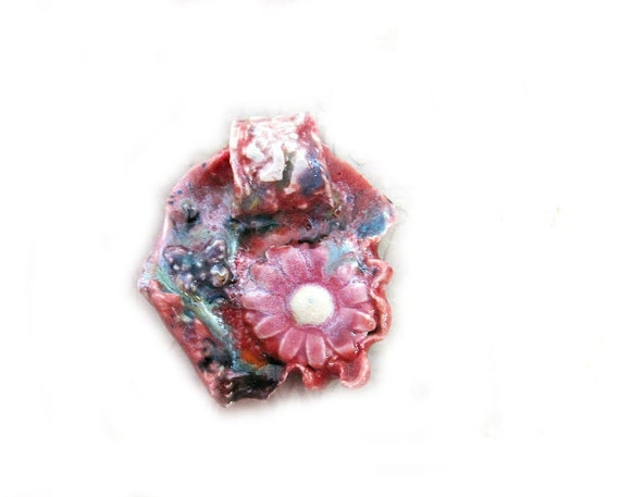 Ceramic Pendant / Focal Bead - Coral with Pink Flower and Butterfly  #7