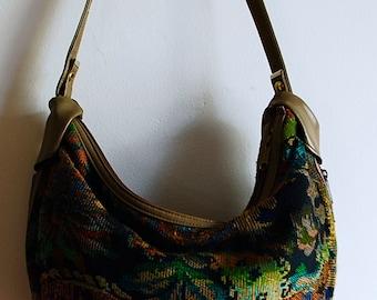 Rainbow Tapestry Vintage Slouchy Bag