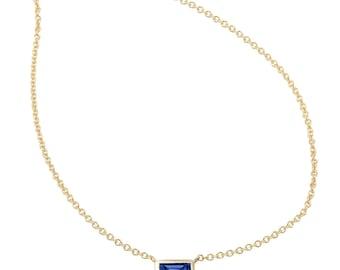 Baguette Necklace, Baguette, Diamond Baguette Necklace, Sapphire Baguette Necklace, Fine Chain, Gold Necklace.