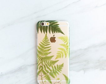 iPhone 6 Case Clear Ferns iPhone 6S Case, Botanical iPhone 6 Plus Case Transparent Nature Lovers Gift