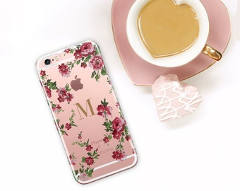Personalized Floral iPhone Case Clear iPhone 7, 6S, 6, Plus Monogram iPhone 7 Plus, Flowers, Gift For Her