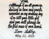 Wedding Handkerchief for Father of the Bride - Personalized with Bride's Name, Wedding Date and Color Choice