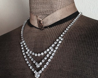 Vintage Rhinestone Necklace Old Hollywood Glamour