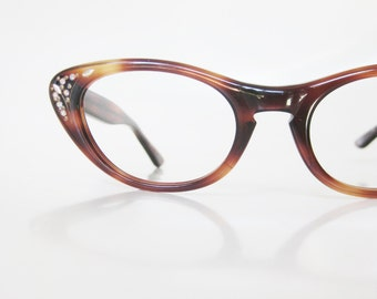 1960s Cat Eye Rhinestone Glasses Eyeglasses Tortoiseshell Amber Pin Up Girl Feminine Girly Cateye Optical Frames Retro Mad Men Style