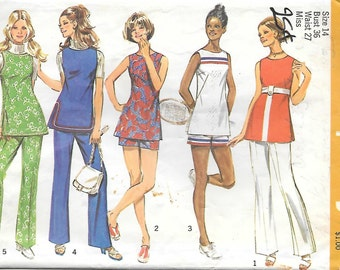Simplicity 9408 1970s Mod Tunic Pants and Shorts Vintage Sewing Pattern Size 14 Bust 36 Tennis Dress Tunic