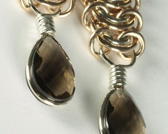 Chainmaille Smoky Quartz Rose Gold-filled Sterling Silver Earrings Dangles