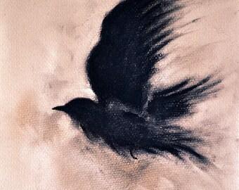 "Original Charcoal Drawing Flying Raven Blackbird Crow Gothic Dark Art 8x12"""