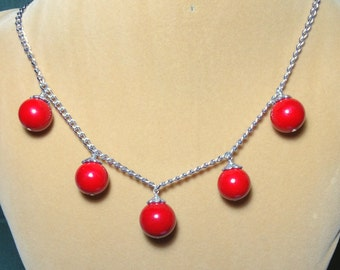 SALE    Red Christmas Ornament Gemstone and Silver Necklace / Red Ball Necklace / Gemstone necklace /