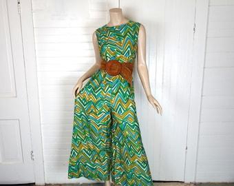 60s Jumpsuit in Green & Gold- 1960s Cotton Wide Leg Pants- Medium