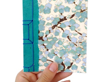 Gift for Mom, Chiyogami Notebook, Gift for a Writer, Gift for a paper lover, Japanese Stab Bound Notebook, Blue Plum Blossom Notebook