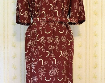 1970s Burgundy Print Button Front Dress with Self Belt, XL