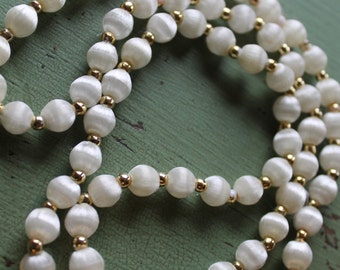 Vintage Ivory Satin Beaded Necklace
