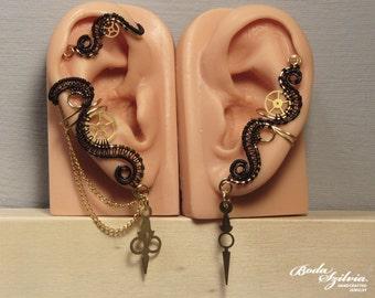 black and brass STEAMPUNK EAR WRAP & ear cuff set - gear ear cuff, steampunk jewelry, no piercing ear cuff, steampunk ear cuff,