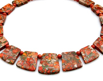 Red Goddess Necklace Chunky Jasper Necklace Bib Gemstones Collar Necklace  High Fashion Flaming Hot Tribal Queen Egyptian Style Mei Faith
