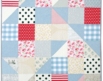 Modern Big Block Half Square Triangle Quilt