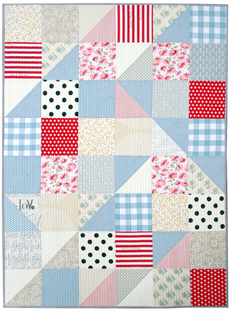 Modern big block half square triangle quilt for Modern house quilt block