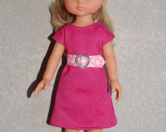 "Doll Clothes Pink Dress and removable belt TKCT513 handmade fits Corolle 13"" Les Cheries or 14"" Heart for Hearts"