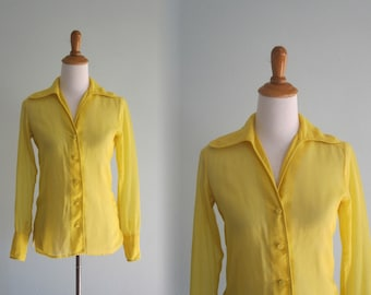 Vintage Mod Yellow Blouse - 60s Sheer Yellow Blouse by Malbe - Vintage 1960s Blouse S M